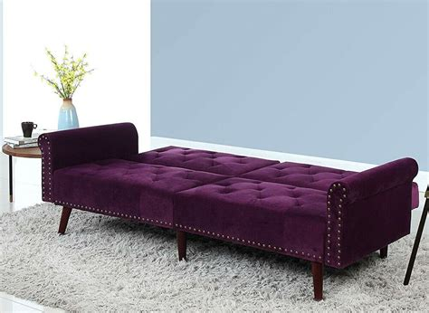 Sofa Bed Convertible Sleeper Couch Purple Velvet Tufted