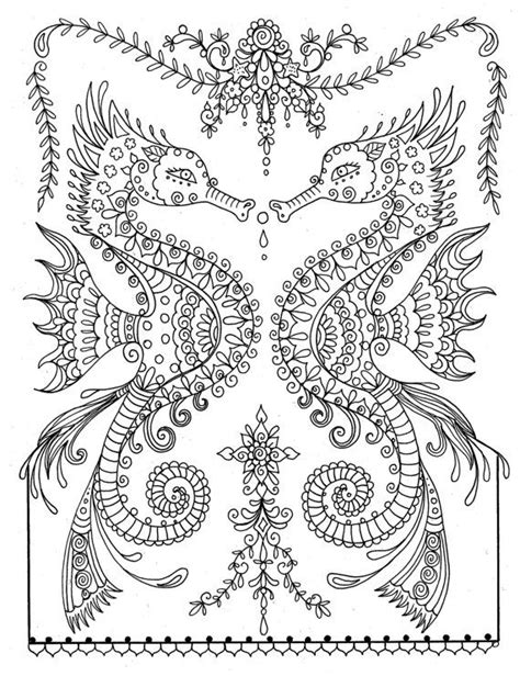 Seahorses Coloring Page colouring adult detailed advanced