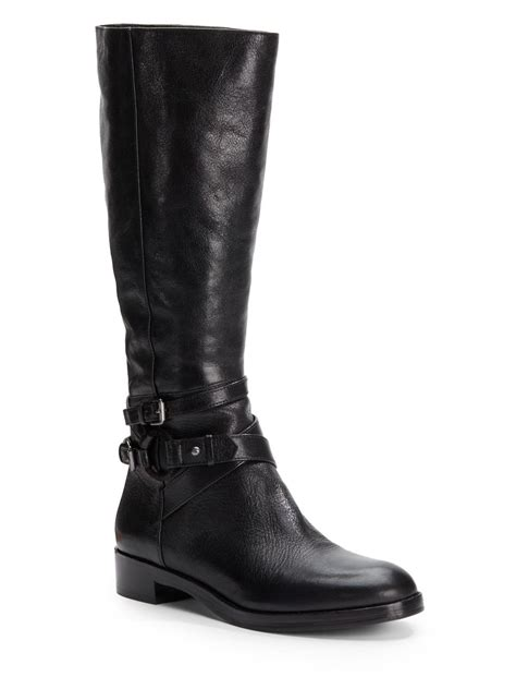 Via Spiga Gabrielle Leather Riding Boots in Black - Lyst