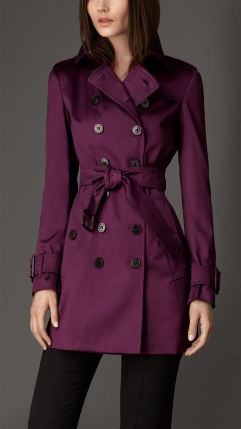Burberry Midlength Cotton Sateen Trench Coat in Purple | Lyst