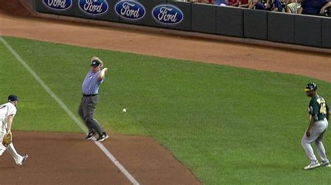 Lowrie's foul ball becomes two-run double - YouTube