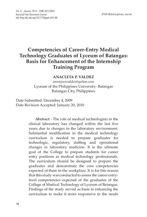 Competencies of Career-Entry Medical Technology Graduates