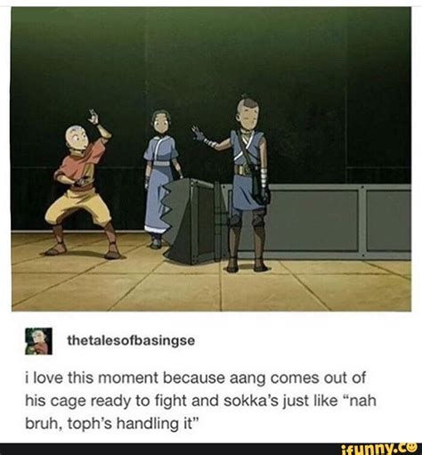 I love this moment because aang comes out of his cage