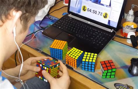 Record For Solving Six Different Size Rubik's Cubes