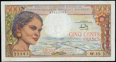Madagascar currency 500 Malagasy francs banknote of 1964