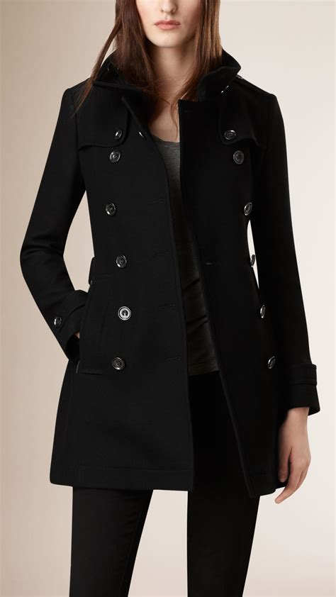 Lyst - Burberry Short Double Wool Twill Trench Coat in Black